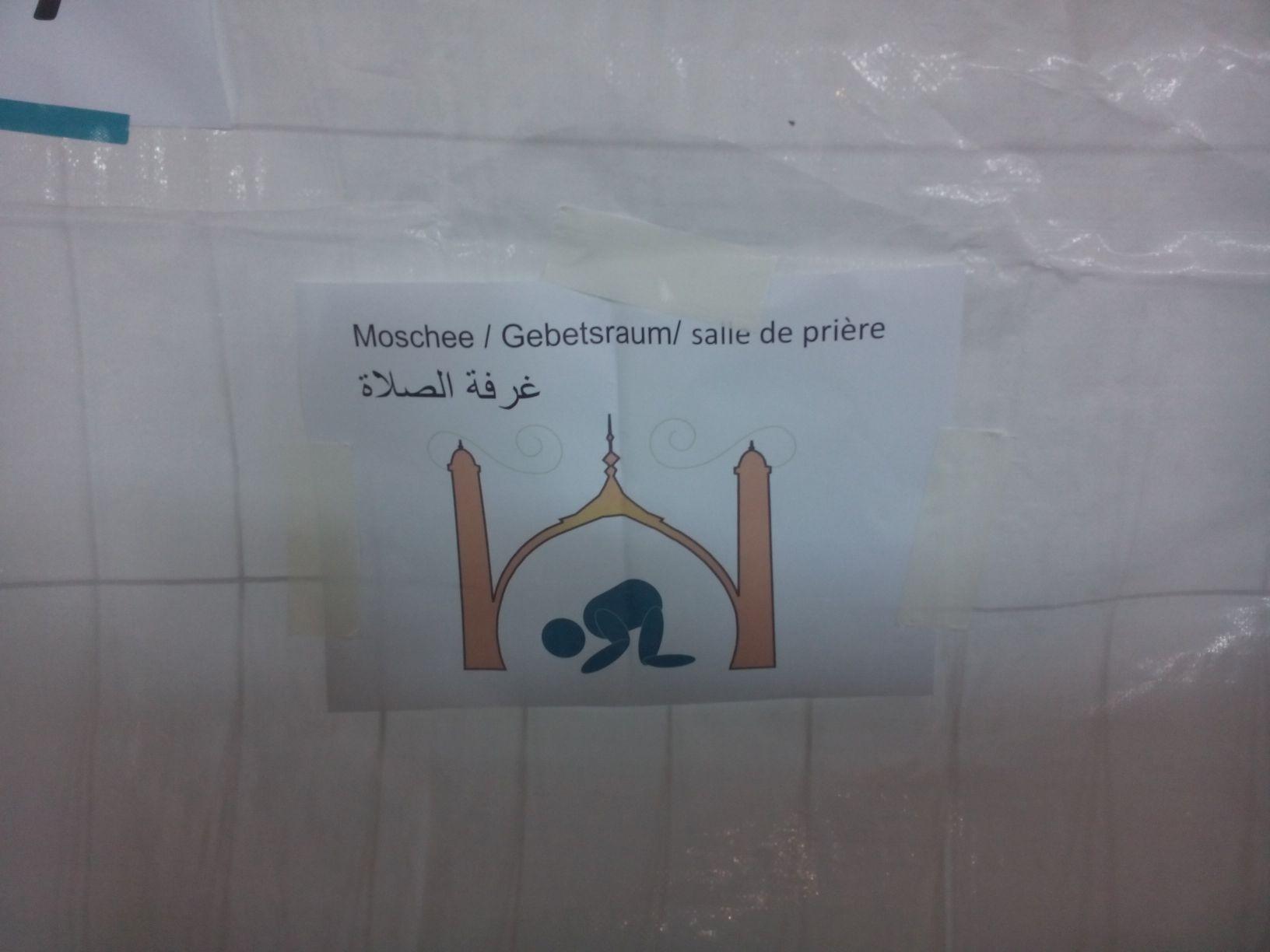 In der BEA - Schild für den Gebetsbereich
