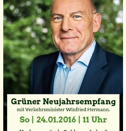 Plakat zum Neujahrsempfang mit Portraitfoto von Winfried Hermann