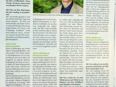 Foto einer Seite aus dem Neckarboten mit dem Interview mit Hermino Katzenstein