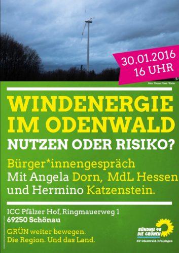Plakat mit der Einladung zur Veranstaltung Windenergie im Odenwald