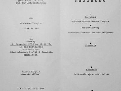 Die Einladungskarte zur feierlichen Amtseinführung des neuen THW-Ortsbeauftragten der Ortsgruppe Sinsheim.
