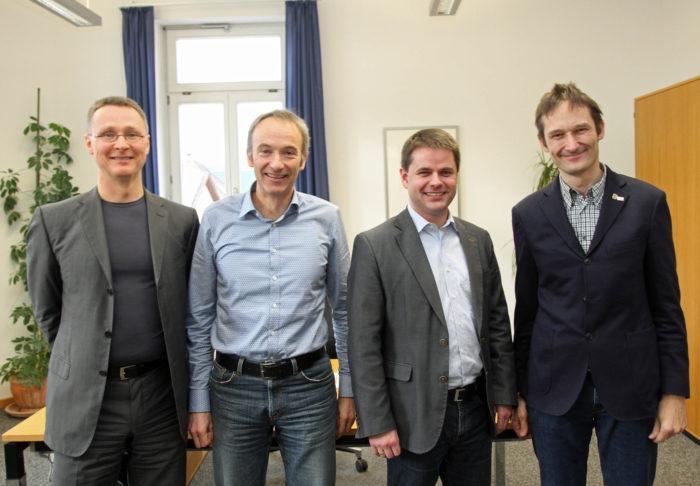 MdL Katzenstein im Rathaus Muehlhausen. v.l.n.r.: Andreas Leitheußer, Gerhard Welker, Jens Spanberger, Hermann Katzenstein