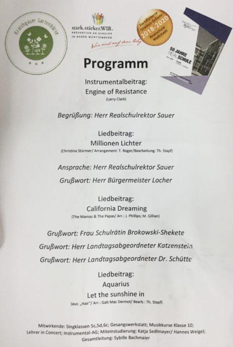 Rückseite des Flyers zum Festakt 50 Jahre Realschule Waibstadt mit dem Ablauf