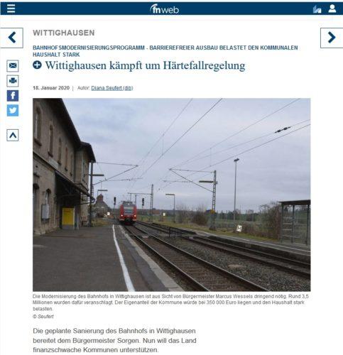 Bildschirmkopie Fränkische Nachrichten 2000-01-20 mit dem Artikel zum Bahnhofmodernisierungsprogramm