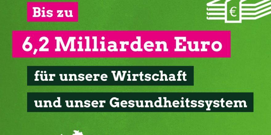 Grafik mit Text 'Bis zu 6,2 Milliarden Euro für unsere Wirtschaft und unser Gesundheitssystem'