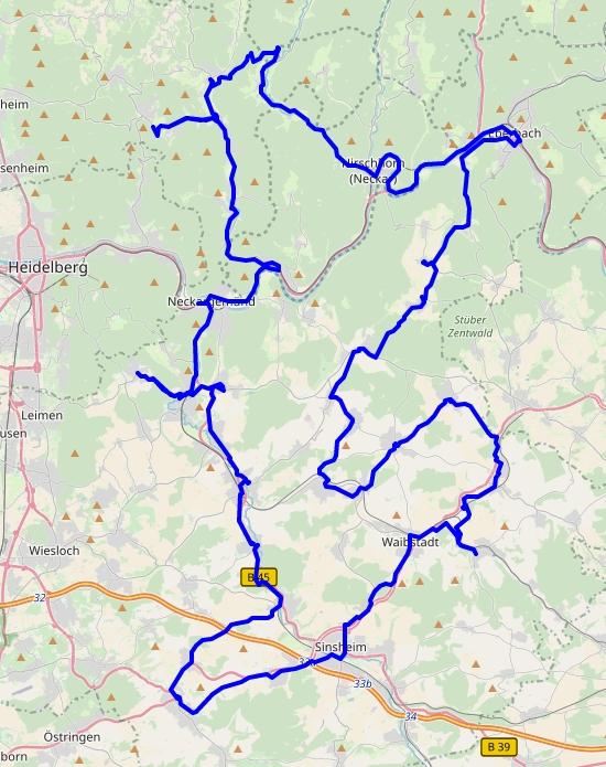 Karte mit der Gesamtstrecke der Wahlkreistour