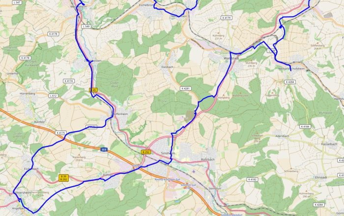 Karte mit dem südlichen Teil der Wahlkreistour