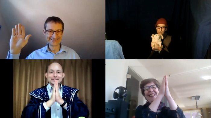 Screenshot: Es winken zur Verabschiedung Hermino Katzenstein, Martin Fuchs, Henriette Katzenstein und Daniel Schirner (im Uzs)